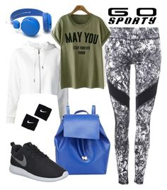 """Go Sporty!"" by yinggao ❤ liked on Polyvore featuring Barneys New York, NIKE, sporty and sportystyle"