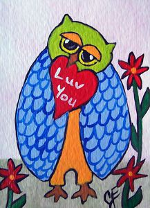 """""""Love You Owl""""  Original Painting Artist Trading Card"""