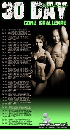 The 30 Day Core Challenge... for a rock-hard core! http://www.iweightloss.com/blog/core-challenge/ #coreworkout #exercise #workout #fitness #corechallenge