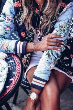 Michele Watch + Layered bracelets & dainty rings