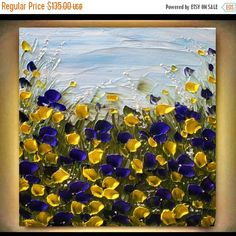Original  Modern  Heavy  Impasto Purple  Yellow Flowers   Acrylic Palette Knife Landscape  Floral  Painting.  Made2Order.