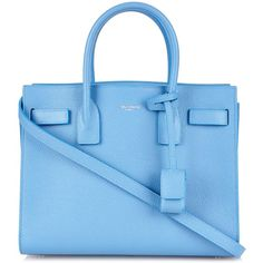 Saint Laurent Sac De Jour baby leather tote found on Polyvore featuring bags, handbags, tote bags, sac, light blue, leather tote, genuine leather tote, handbags totes, blue leather tote and blue leather purse