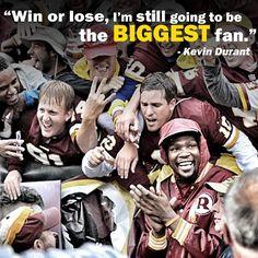 NBA sensation and life-long Washington Redskins fan Kevin Durant. #HTTR #LiveIt