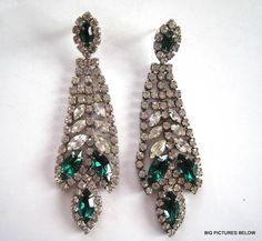 Vintage Earrings Big Long Runway Green Clear Crystal Rhinestone Dangle Pierced | eBay ~ Sadly, WAY overpriced, but lovely!