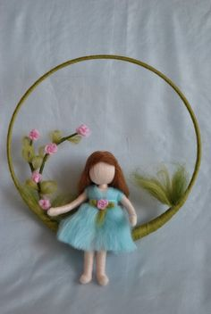 Nursery Mobile needle felted : Girl with roses Waldorf inspired needle felted doll mobile Girl with by MagicWool Needle Felted Ornaments, Felt Ornaments, Wet Felting, Needle Felting, Felt Angel, Wool Dolls, Waldorf Crafts, Felt Fairy, Fairy Dolls
