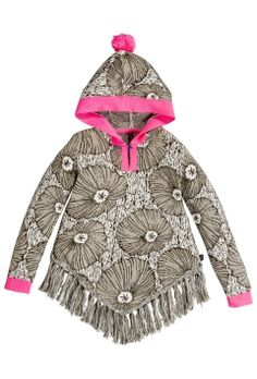 Glamping | Fall collection | Poncho | Flower print | Grey | Pink