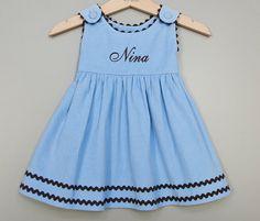 Blue Corduroy Dress-Monogrammed Corduroy Dress  by GirlCandyShop