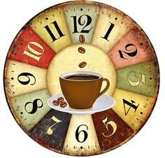 Coffee Icon Icons from GraphicRiver Clock Art, Diy Clock, Clock Decor, Decoupage Vintage, Decoupage Paper, Coffee Icon, Coffee Art, Coffee Clock, Retro Cafe