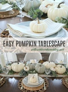 Fall Table Settings, Thanksgiving Table Settings, Thanksgiving Centerpieces, Holiday Tablescape, Faux Pumpkins, White Pumpkins, Fall Home Decor, Autumn Home, Pumpkin Decorating