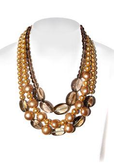 collana in quarzo fumè e perle di maiorca colorate, con gancio in argento rosè