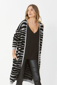 Rug up in this luxurious cardi that's knitted from a super soft fuzzy yarn inspired by animal print. Designed for effortless style, this cardi features patch pockets and an open front. Perfectly crafted for the layered look. Luxe Clothing, Studded Sneakers, Sale Promotion, Talia, Layered Look, Girls Accessories, Body Measurements, Perfect Fit, Duster Coat