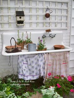 Vintage sink ~ potting bench & water feature http://ourfairfieldhomeandgarden.com/everything-including-the-kitchen-sink/