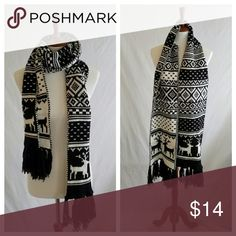 Old Navy Fairisle Black & White Knit Scarf Tag cut off . Gently used 2 or 3 times . Extra long and thick .  #012004 Old Navy Accessories Scarves & Wraps