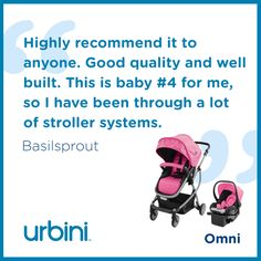 This mom of four is very happy that she purchased the #Urbini Omni 3-in-1 #TravelSystem. Read more of what she likes about the Omni and other reviews by clicking on the pin!