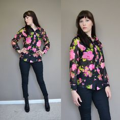 60s FLORAL Chiffon sheer Button Down Shirt Pink Roses Long Sleeve Blouse Vintage - Small Medium