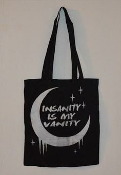 Black and White Drippy Crescent Moon Tote Bag reads Insanity Is My Vanity Shoppers Stylish Screen Print Cotton Tote Bags, Reusable Tote Bags, Black Tote Bag, Backpack Purse, Canvas Tote Bags, Screen Printing, Asos, Purses, Black And White
