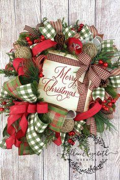 Christmas Wreath for Front Door, Rustic Christmas Decor, Christmas Decorations, Christmas Gift, Wreath with Wood Present Christmas Towels, Diy Christmas Ornaments, Rustic Christmas, Christmas Decorations, Christmas Christmas, Xmas Holidays, Holiday Decor, Double Door Wreaths, Christmas Wreaths For Front Door
