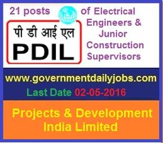 PDIL RECRUITMENT 2016 APPLY ONLINE FOR 21 ENGINEER & SUPERVISOR POSTS ~ Government Daily Jobs