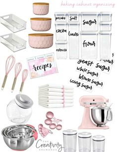Sources and storage containers for creating a seperate baking cabinet with free printable hand-lettered labels. The Creativity Exchange