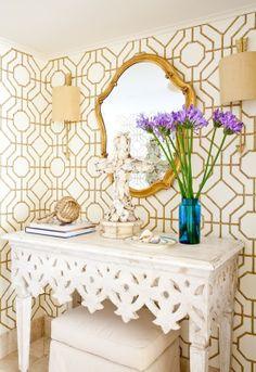 entry wallpaper gold and white decor... white decor desk... gold mirror