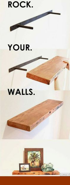 Check out the tutorial on how to make DIY hanging rope shelves . - Do it yourself decoration - Wonderful tricks: floating glass shelves lighting floating shelves bedroom … – Do it yourself d - Custom Floating Shelves, Floating Glass Shelves, Floating Shelves Bedroom, Floating Shelf Brackets, Shelving Brackets, How To Make Floating Shelves, Floating Shelf Under Tv, Floating Table, Industrial Floating Shelves