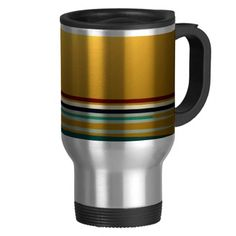 Gold Striped Travel Mug by orientcourt available on Zazzle