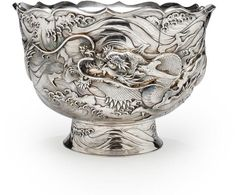 A deep silver punch bowl By Tsunenori, Meiji period (late 19th century)