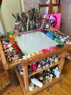 My Tabouret. Boyfriend built it for me. It has become my best friend. #tabouret #artiststudio #painting #oilpainting #color #colors #mixingcolors #palette #art #artnerd #colors #studiotour #arttour #angiejonesart