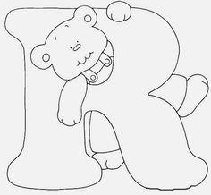 Afabeto moldes de letras urso fofo - letras molde para eva ursinho dengoso - alfabeto para colorir ou imprimir - Alfabetos Lindos Printable Alphabet Letters, Alphabet Templates, Alphabet And Numbers, Sewing Appliques, Embroidery Patterns Free, Scrapbook Letters, Abc Coloring Pages, Tooth Fairy Pillow, Cross Stitch Alphabet