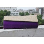Purple Passion and Gold Flap Clutch Evening Bag