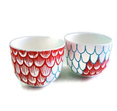 Ceramic Cups Sake Japanese Tea Hand Painted Scallops Red Turquoise Modern Nautical Upcycled - READY TO SHIP. via Etsy.
