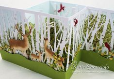 Come see how I made this summer Z fold birch and deer card. Z Cards, Easel Cards, Fancy Fold Cards, Folded Cards, Pop Up Box Cards, Interactive Cards, Card Making Techniques, Card Tutorials, Pretty Cards