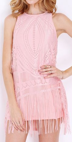 Pink Sleeveless Crochet Lace Tassel Fringed Dress
