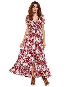 e7dea4b3e205b Milumia Women s Button Up Split Floral Print Flowy Party Maxi Dress at Amazon  Women s Clothing store
