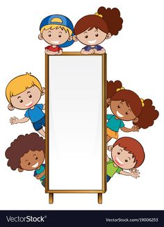 Border template with many children illustration. Art For Kids, Crafts For Kids, Classroom Decor Themes, Classroom Labels, Border Templates, Drawing School, School Frame, Kids Background, School Clipart