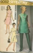An original ca. 1970 Simplicity Pattern 9062.  Misses' Dress or Tunic and Pants...Designer Fashion -- The dress V. 1 and 2 or tunic V. 3 with front seam interest, back zipper and high round neckline have optional lining and purchased belt. V. 1 with long set-in sleeves has collar. Collarless V. 2 has short set-in sleeves. Collarless V. 3 is sleeveless V. 3 pants with elastic waistline casing have optional lining.