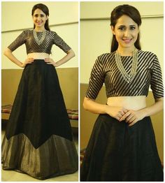 Black crop top and skirt indo western outfit indian cocktail etsy. Choli Designs, Lehenga Designs, Saree Blouse Designs, Black Blouse Designs, Indian Gowns Dresses, Indian Fashion Dresses, Dress Indian Style, Indian Designer Outfits, Designer Dresses