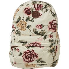 Billabong Women's Hand Over Love Backpack (515 ARS) ❤ liked on Polyvore featuring bags, backpacks, accessories, bolsas, white cap, print backpacks, white cotton backpack, billabong backpack, zip bags and rucksack bag