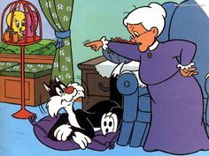 Sylvester and Granny.I loved sylvester. Classic Cartoon Characters, Favorite Cartoon Character, Cartoon Tv, Classic Cartoons, Vintage Cartoon, Cartoon Shows, Old School Cartoons, Old Cartoons, Desenhos Hanna Barbera