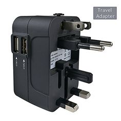 Travel Adapter JMcolo Worldwide All in One Universal Power Converters Wall AC Power Plug Adapter Power Plug Wall Charger with Dual USB Charging Ports for USA EU UK AUS Cell phone laptop Black * Be sure to check out this awesome product.