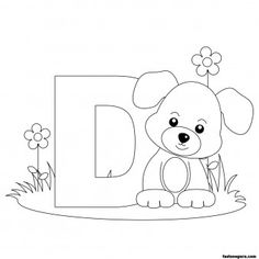 Printable Animal Alphabet worksheets Letter D for Dog - Printable Coloring Pages For Kids