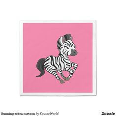 Running zebra cartoon standard cocktail napkin