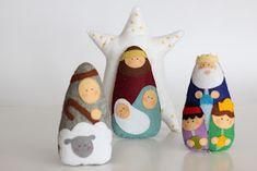 MI HOGAR DE PATCHWORK: NACIMIENTO DE FIELTRO Christmas Holidays, Christmas Crafts, Christmas Decorations, Xmas, Christmas Tree, Christmas Ornaments, Holiday Decor, Nativity Ornaments, Felt Ornaments