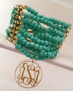 Monogrammed Bracelet   Multi Strands Elasticized by ArentYouCute, $12.00