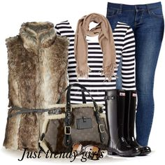 casual fall look by justtrendygirls on Polyvore featuring moda, ONLY, Hunter, Louis Vuitton and Old Navy