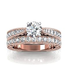 Rose Gold Vintage Style Diamond and Moissanite Engagement Ring and Matching Band