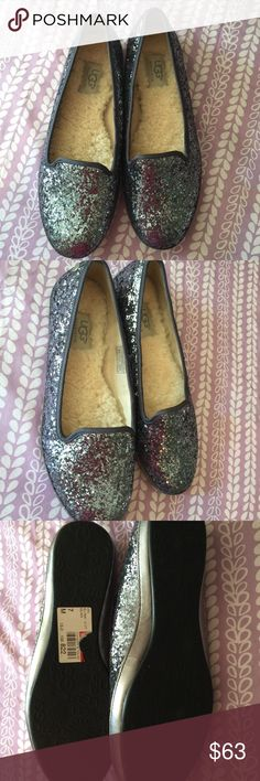 Sparkly UGGS NWT Beautiful Ugg flats, brand new with tag on bottom sole. Never worn. Grayish blue sparkles! Beautiful shoes! UGG Shoes Flats & Loafers