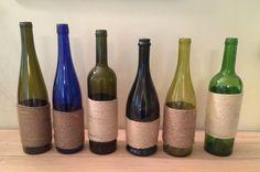 Decorated Wine bottles by HandmadeByVile on Etsy