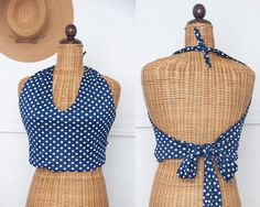 Vintage Blue and White Polka Dot Cropped Halter Top / 1950s Sexy Retro Mod Pinup Americana July Fourth Festival Crop Top Tankini Belly Shirt...