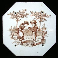 Love love this!  Brown Transferware Plaque tile  Bird's Nest 1890
